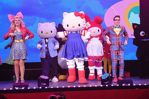 Hello Kitty on stage. Ready to rock with all her friends.