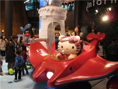 cute Hello Kitty travelling back to Ice Age on a plane