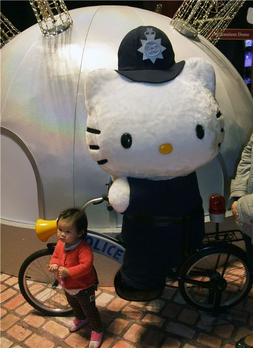 Hello Kitty dressed up as british police