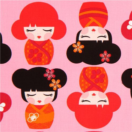 pink Kokeshi doll fabric by Robert Kaufman USA