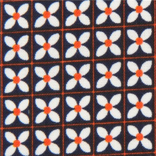 navy blue fabric with small white flower fabric by Cotton and Steel