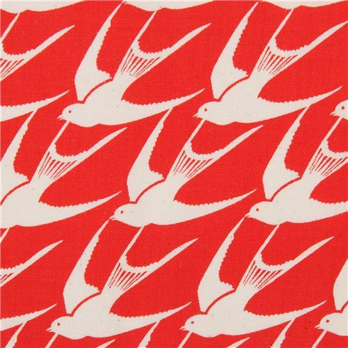 red fabric with natural color bird animal fabric by Cotton and Steel