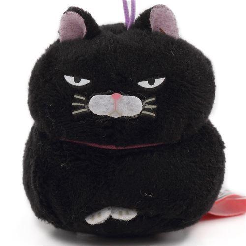 small black cat with purple strap Puchimaru plush charm