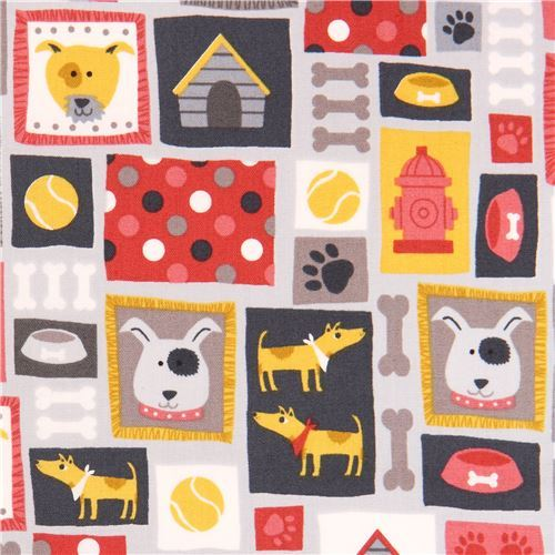 grey dog animal square rectangle bone fabric by Andover