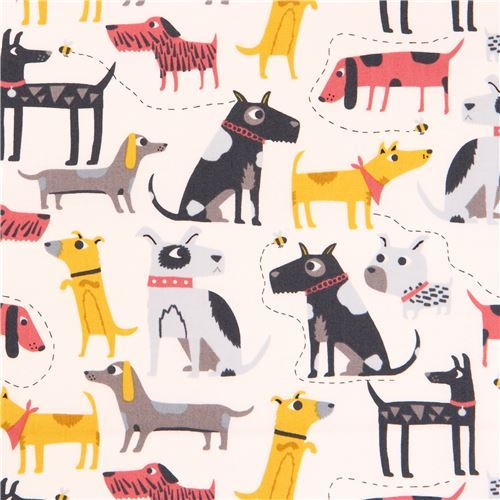 light cream with colorful dog animal fabric by Andover