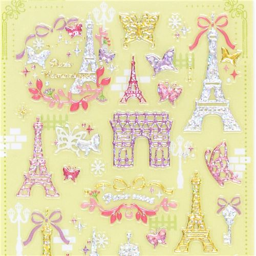 shiny glitter colorful Eiffel Tower butterfly bow stickers by Mind Wave