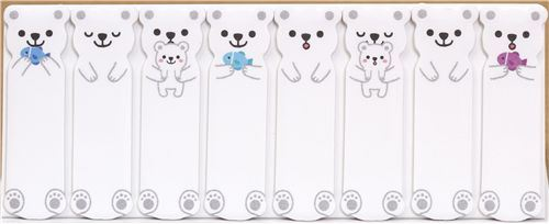 cute Polar bear bookmark stickers Post-it with fishes