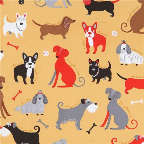 brown Robert Kaufman fabric funny cute dog Classy Canines