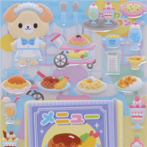 puffy stickers with dog and food by Kamio