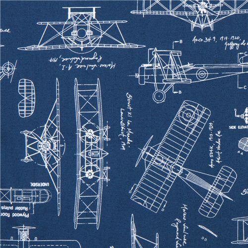 blue 'Vintage Blueprints' airplane draft plan fabric Robert Kaufman USA