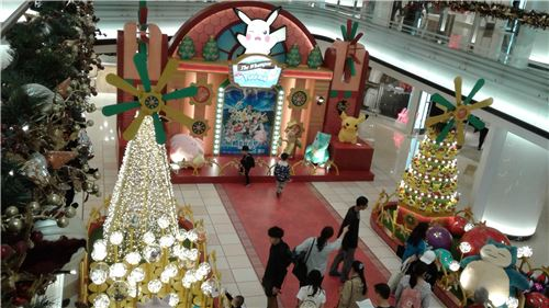 A Pokemon stage set and display in a shopping mall