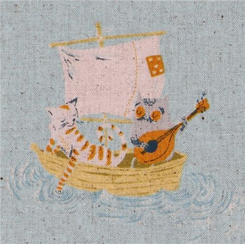 Heather Ross Kokka fabric Far Far Away 2 Cats