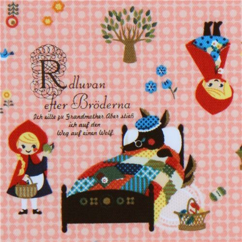 cute Little Red Riding Hood Kokka fabric Japan red