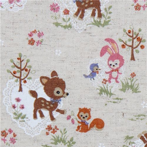 cute deer squirrel bunny Kokka linen fabric