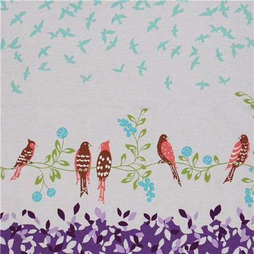 echino canvas Kokka fabric birds purple from Japan