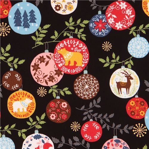 black oxford fabric colorful animal Christmas ornament gold metallic by Kokka