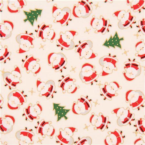 light cream cute santa Christmas tree gold metallic fabric