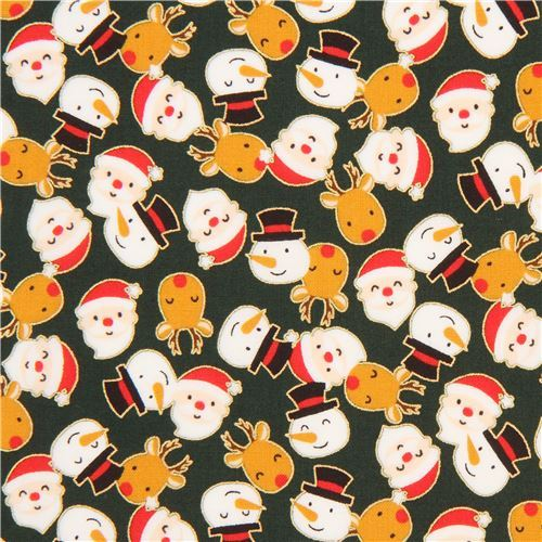 dark green cute santa snowman reindeer gold metallic fabric