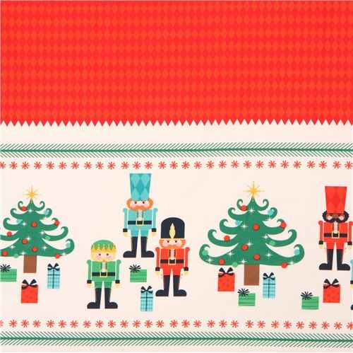 red cream Riley Blake fabric tree soldier Nutcracker Christmas