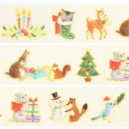 mt Washi Masking Tape cream with cute animal deco tape Merry Christmas