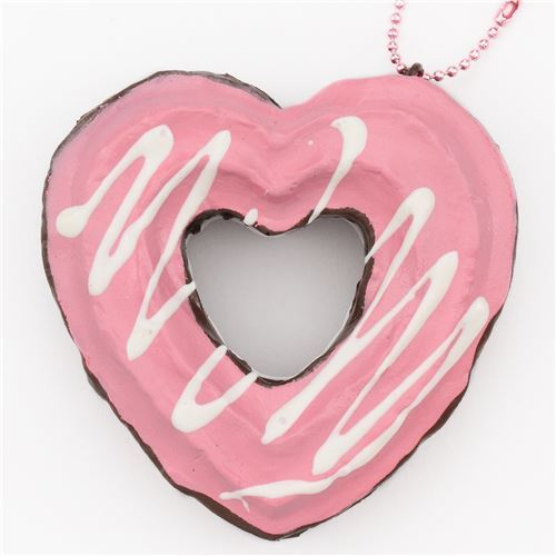 cute brown pink heart shape churro squishy charm cellphone charm kawaii