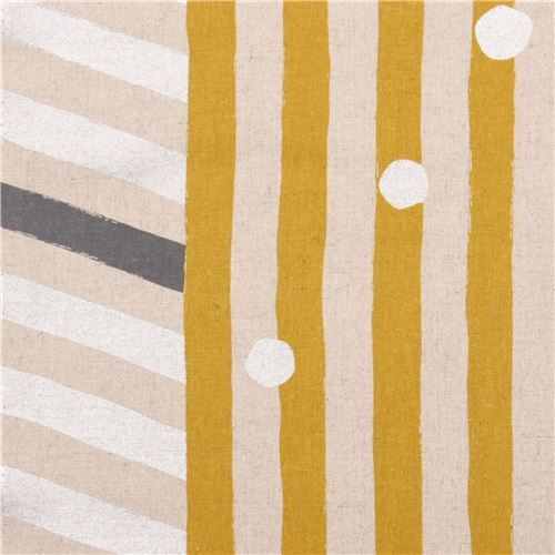echino natural color canvas laminate fabric yellow silver stripe dots from Japan