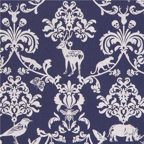navy blue echino silver metallic animal leaf skull laminate fabric