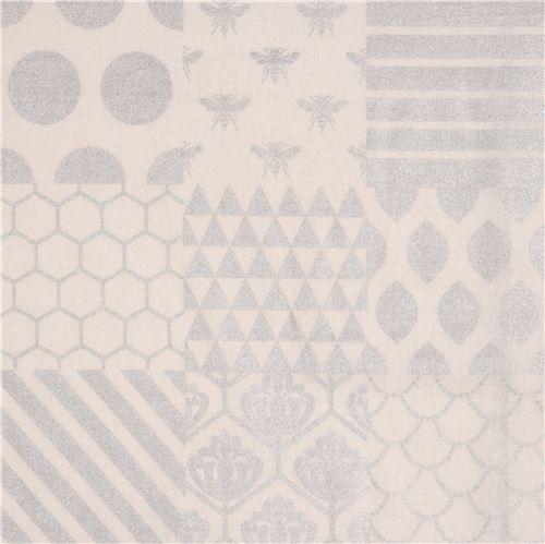 off-white echino canvas fabric silver metallic stripe zig zag triangle Piece