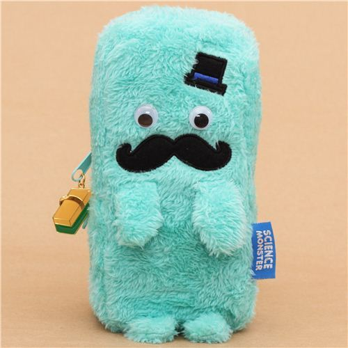 turquoise Mr. Mustache plush pencil case from Japan