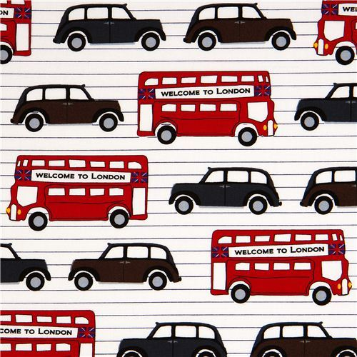 white London fabric with bus & car Robert Kaufman USA