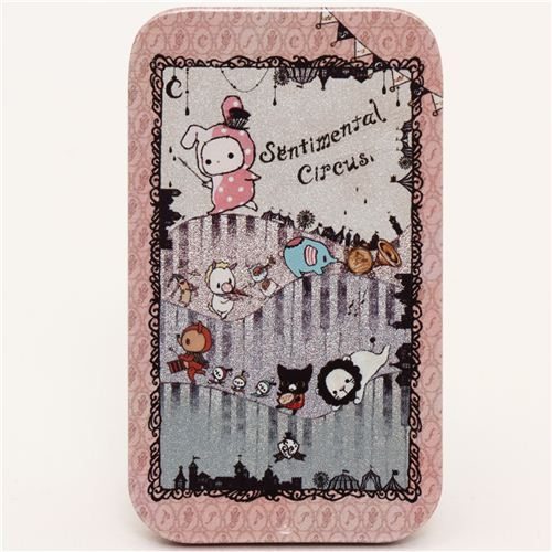 small pale pink Sentimental Circus tin case pill box piano