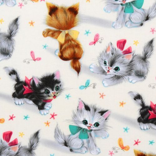 cute Michael Miller vintage fabric kitty Kitties