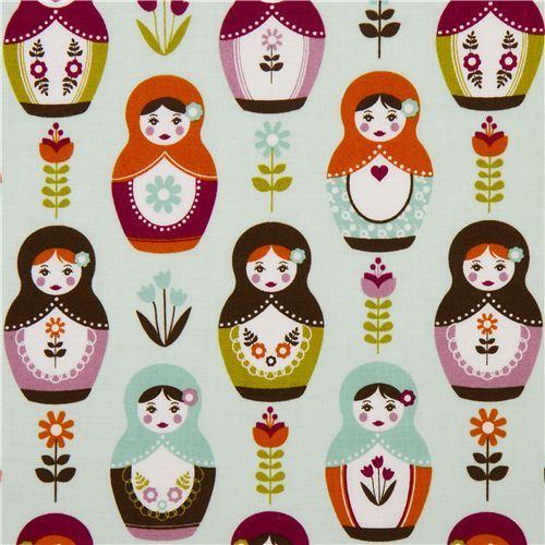 aqua Riley Blake matryoshka fabric with flowers USA