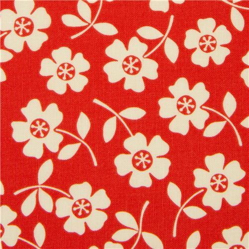 orange-red flower fabric from the USA by Riley Blake