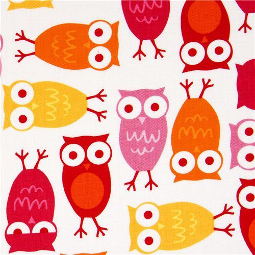 funny white owls fabric Robert Kaufman kawaii