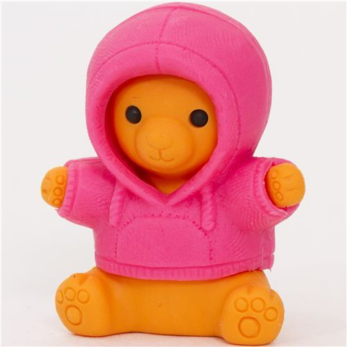 bear in pink parka eraser by Iwako from Japan