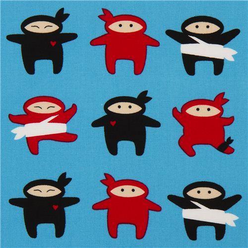 blue ninja fighter fabric by Robert Kaufman USA