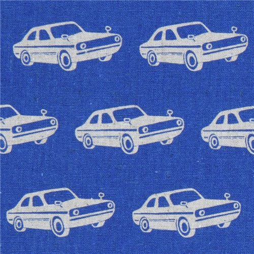 blue echino laminate fabric with cars