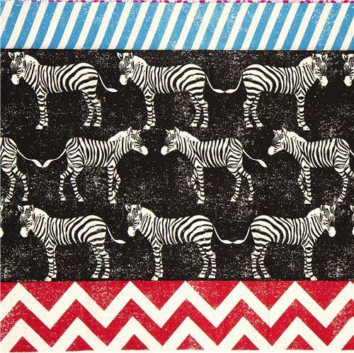 echino laminate fabric black zebras & stripes Japan