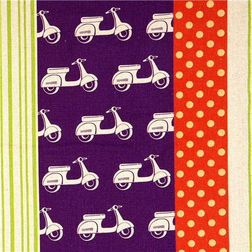 echino laminate fabric scooter Vespa purple