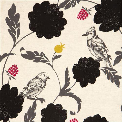 off-white echino laminate fabric Dahlia bird & flower