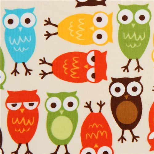 off-white owls corduroy fabric Robert Kaufman USA brown