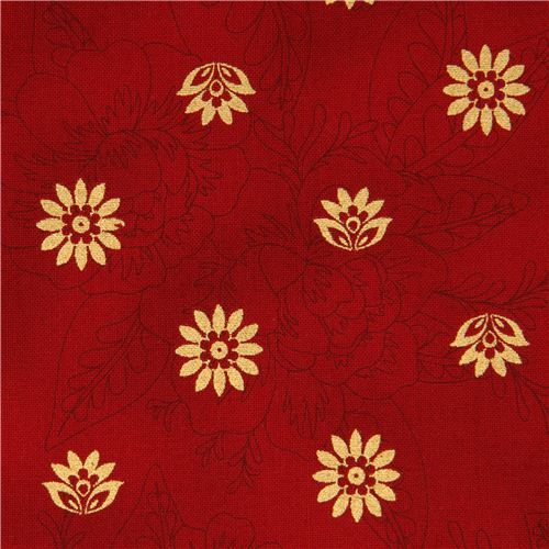red flower fabric with golden flowers Robert Kaufman USA