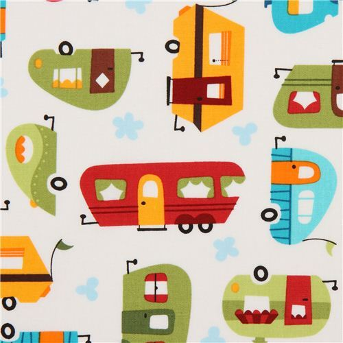 white camper caravan fabric by Robert Kaufman from the USA