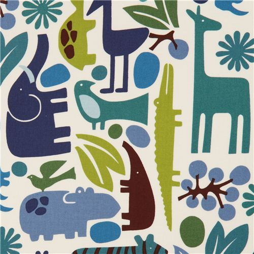 white zoo animal fabric elephant Alexander Henry blue