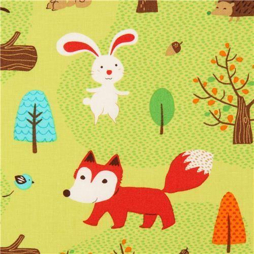 green forest animal fabric Robert Kaufman fox rabbit