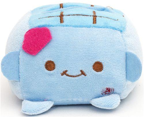 plush cellphone holder blue Hannari Tofu with face