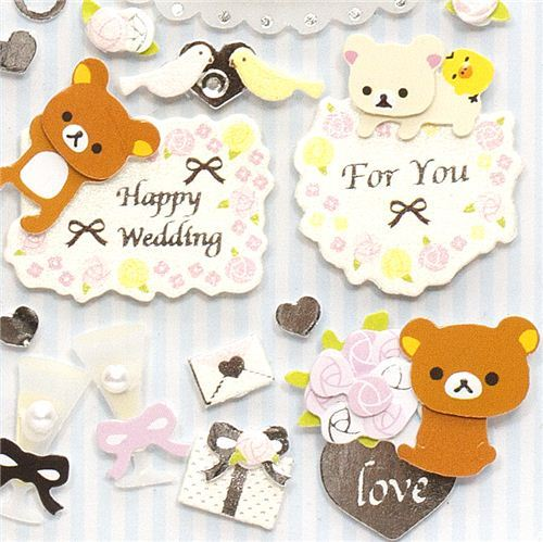 cute Rilakkuma 3D Stickers Wedding Love Ring Cake