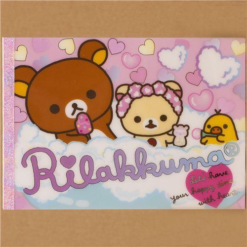 Rilakkuma Memo Pad with bears and chick in bath tub