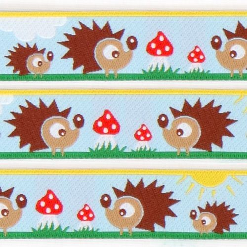 cute blue hedgehog family woven ribbon trim fly agaric